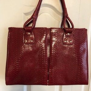 Laptop Tote Bag - Red Embossed Man-made Leather